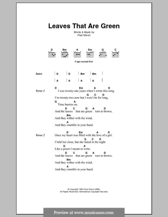 Leaves That Are Green (Simon & Garfunkel): Letras e Acordes by Paul Simon