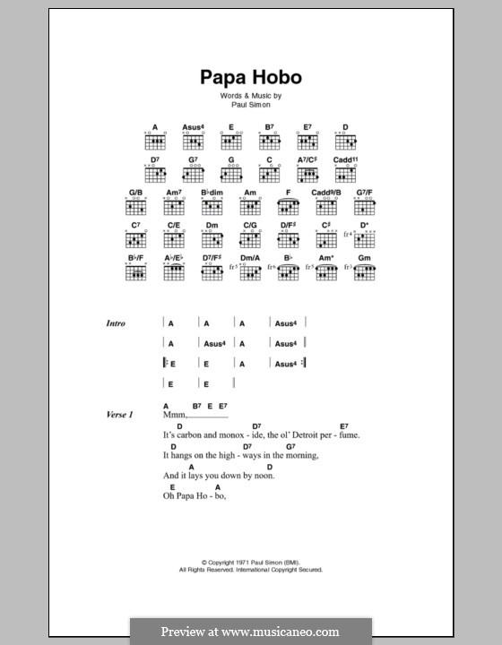 Papa Hobo: Letras e Acordes by Paul Simon