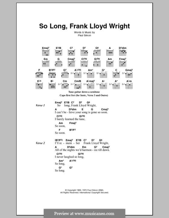 So Long, Frank Lloyd Wright (Simon & Garfunkel): Letras e Acordes by Paul Simon