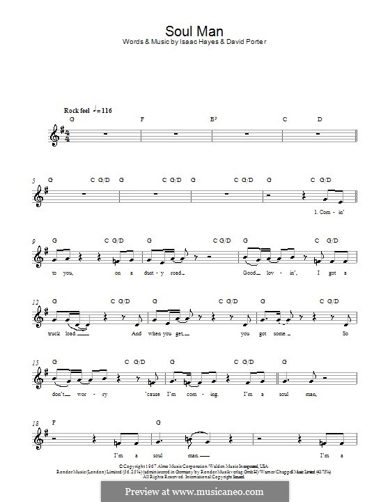 Soul Man (Sam & Dave): melodía,letras e acordes by David Porter, Isaac Hayes