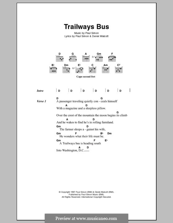 Trailways Bus: Letras e Acordes by Paul Simon