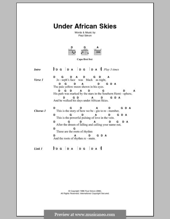 Under African Skies: Letras e Acordes by Paul Simon