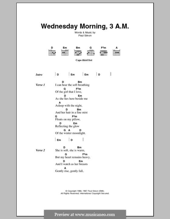 Wednesday Morning, 3 A.M. (Simon & Garfunkel): Letras e Acordes by Paul Simon