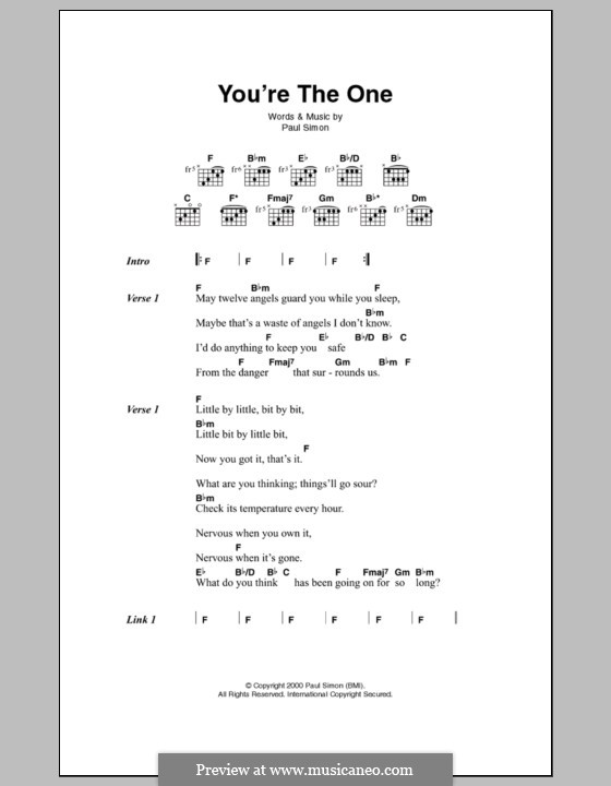 You're the One: Letras e Acordes by Paul Simon