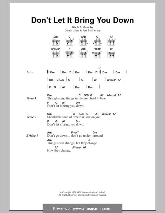 Don't Let It Bring You Down (Wings): Letras e Acordes by Denny Laine, Paul McCartney