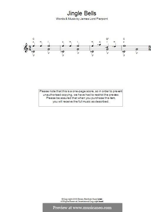 Jingle Bells (Printable scores): Para Guitarra by James Lord Pierpont