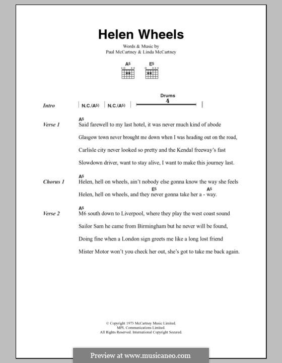 Helen Wheels: Letras e Acordes by Linda McCartney, Paul McCartney