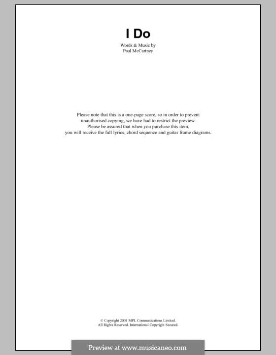 I Do: Letras e Acordes by Paul McCartney