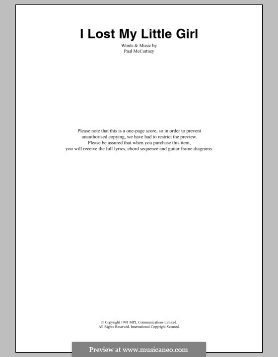 I Lost My Little Girl: Letras e Acordes by Paul McCartney