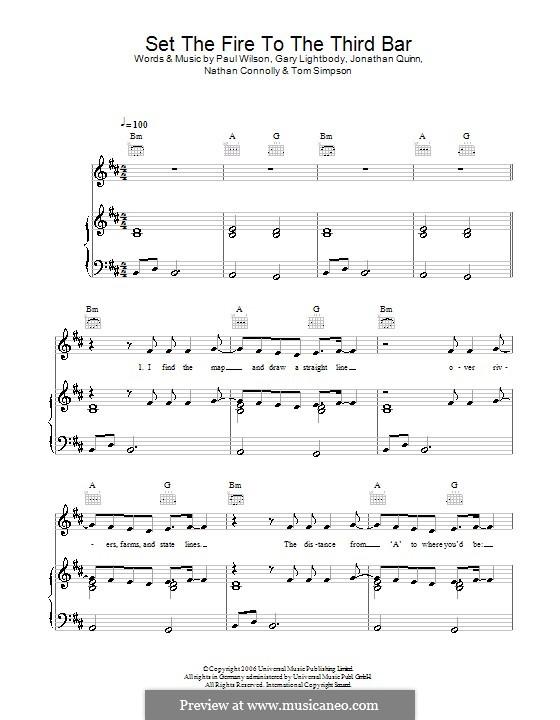 Set the Fire to the Third Bar (Snow Patrol): Para vocais e piano (ou Guitarra) by Gary Lightbody, Jonathan Quinn, Nathan Connolly, Paul Wilson, Tom Simpson