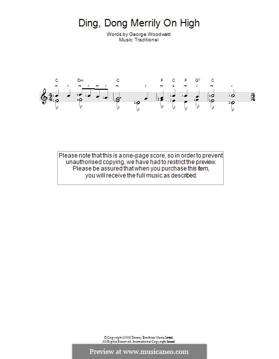 Ding Dong! Merrily on High (Printable Scores): Para guitarra (Classical) by folklore