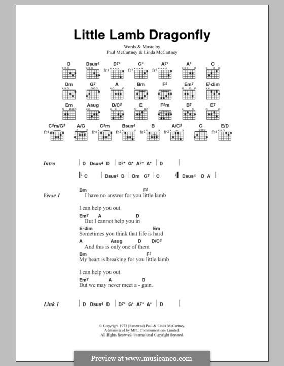 Little Lamb Dragonfly: Letras e Acordes by Linda McCartney, Paul McCartney