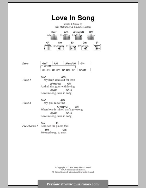 Love in Song (Wings): Letras e Acordes by Linda McCartney, Paul McCartney