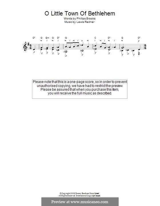 O Little Town of Bethlehem: Para Guitarra by Lewis Henry Redner