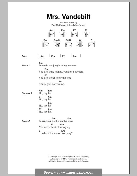 Mrs. Vandebilt (Wings): Letras e Acordes by Linda McCartney, Paul McCartney