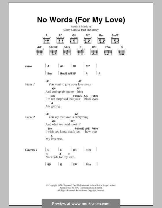 No Words (For My Love): Lyrics and chords (Wings) by Denny Laine, Paul McCartney