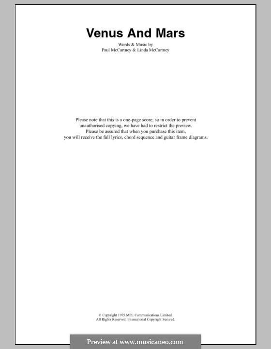Venus and Mars (Wings): Letras e Acordes by Linda McCartney, Paul McCartney
