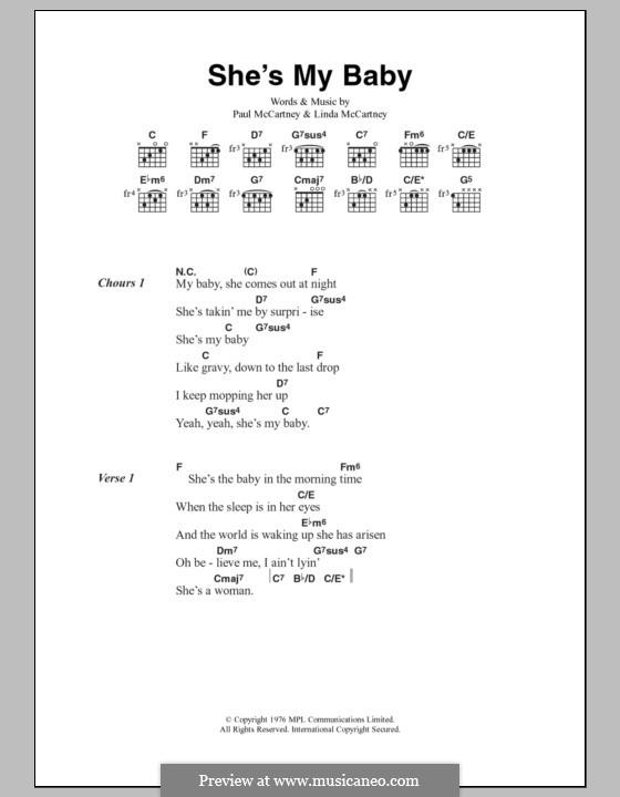 She's My Baby (Wings): Letras e Acordes by Linda McCartney, Paul McCartney