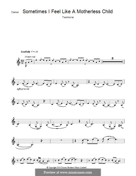 Sometimes I Feel Like a Motherless Child: para clarinete by folklore