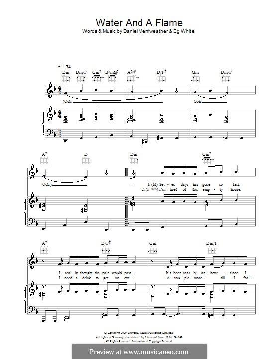 Water and a Flame: Para vocais e piano (ou Guitarra) by Daniel Merriweather, Eg White