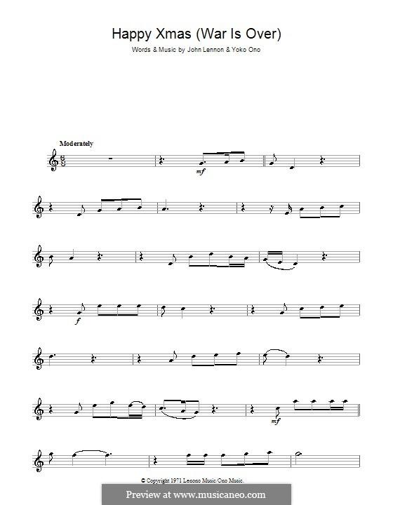 Happy Xmas (War Is Over): para Saxofone Alto by John Lennon, Yoko Ono