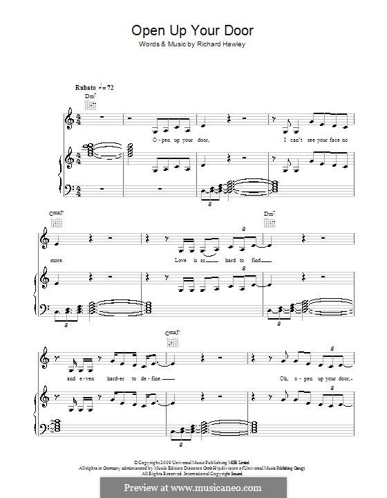 Open Up Your Door: Para vocais e piano (ou Guitarra) by Richard Hawley