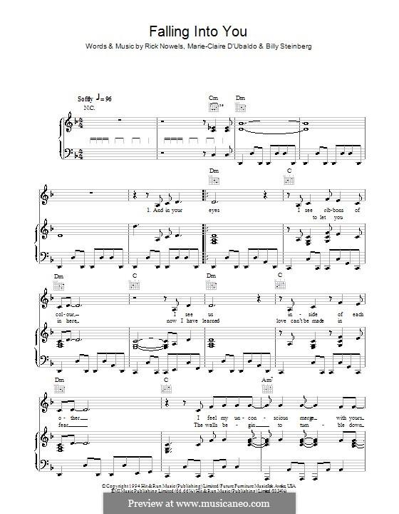 Falling Into You (Celine Dion): Para vocais e piano (ou Guitarra) by Billy Steinberg, Marie-Claire D'Ubaldo, Rick Nowels