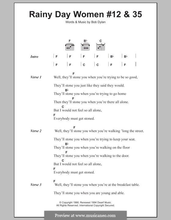 Rainy Day Woman No.12 & 35: Letras e Acordes by Bob Dylan