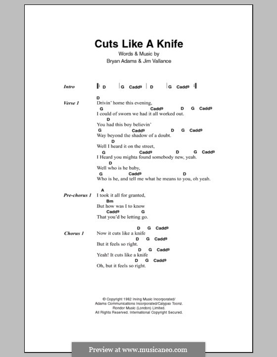 Cuts Like a Knife: Letras e Acordes by Bryan Adams, Jim Vallance