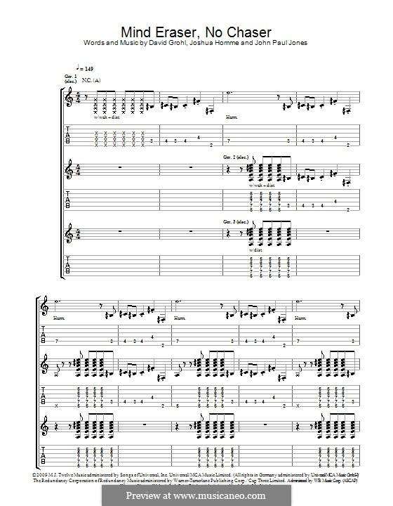 Mind Eraser, No Chaser (Them Crooked Vultures): Para guitarra com guia by John Paul Jones, David Grohl, Joshua Homme