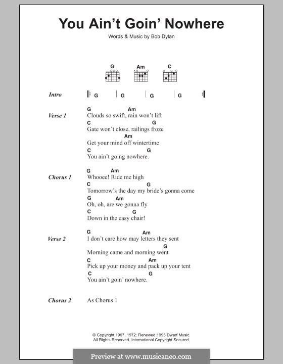 You Ain't Goin' Nowhere: Letras e Acordes by Bob Dylan
