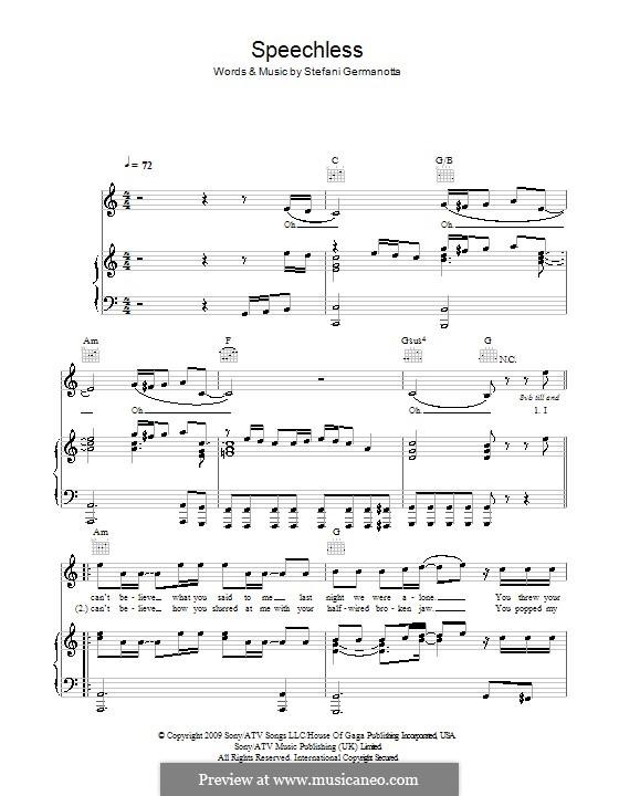 Speechless (Lady Gaga): Para vocais e piano (ou Guitarra) by Stefani Germanotta