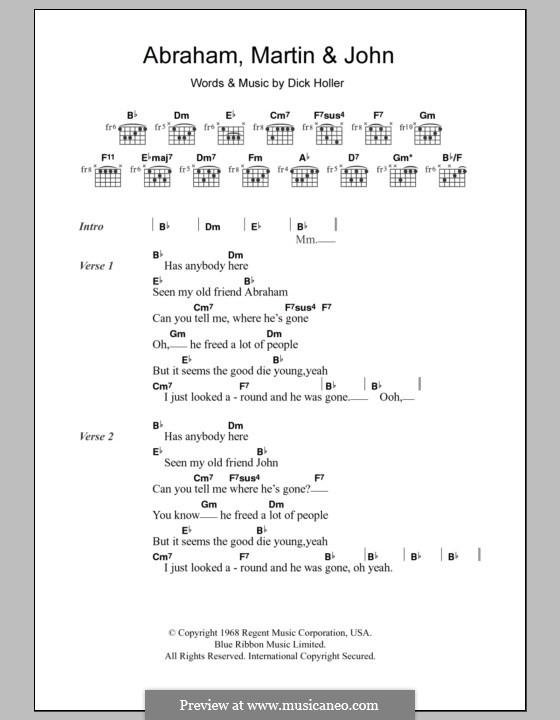 Abraham, Martin and John (Marvin Gaye): Letras e Acordes by Dick Holler