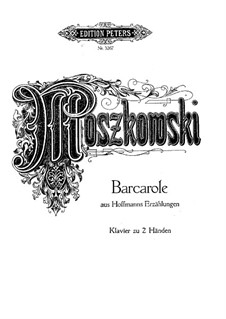 Barcarole: Version for piano by Moszkowski by Jacques Offenbach