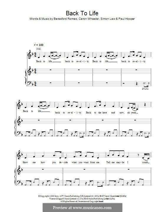 Back To Life (However Do You Want Me): Para vocais e piano (ou Guitarra) by Beresford Romeo, Caron Wheeler, Paul Hooper, Simon Law
