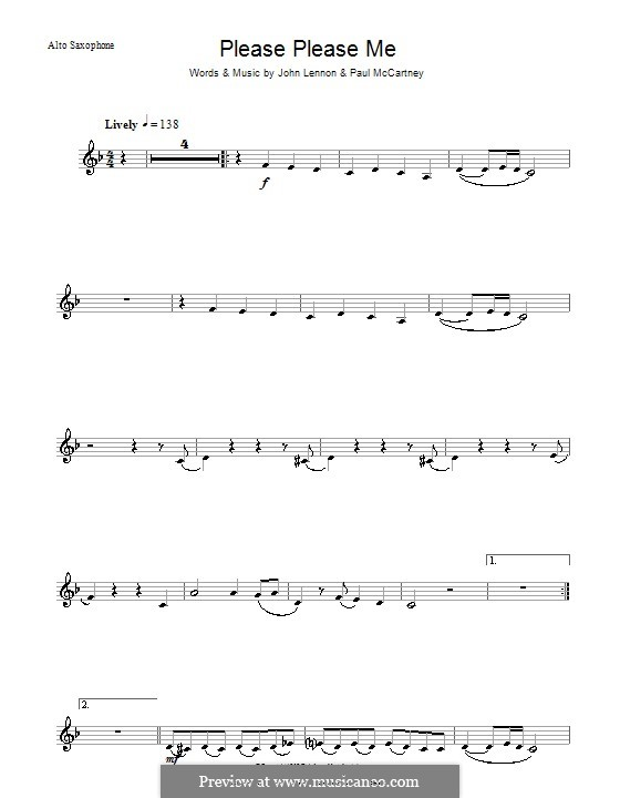 Please Please Me (The Beatles): para Saxofone Alto by John Lennon, Paul McCartney