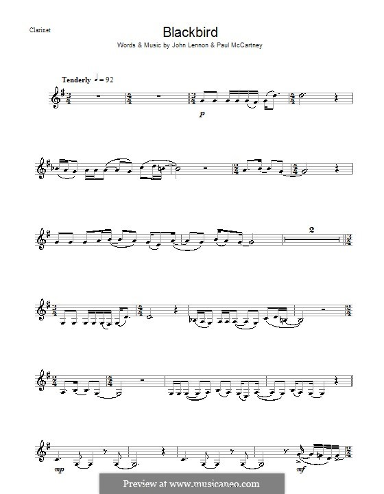 Blackbird (The Beatles): para clarinete by John Lennon, Paul McCartney
