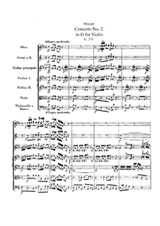 Concerto for Violin and Orchestra No.2 in D Major, K.211: Partitura completa by Wolfgang Amadeus Mozart