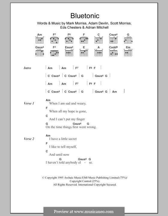 Bluetonic (The Bluetones): Letras e Acordes by Adam Devlin, Adrian Mitchell, Eds Chesters, Mark Morriss, Scott Morriss