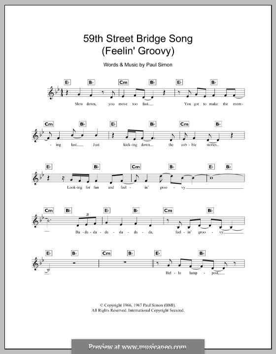 The 59th Street Bridge Song (Feelin' Groovy): para teclado by Paul Simon