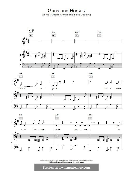 Guns and Horses: Para vocais e piano (ou Guitarra) by Ellie Goulding, John Fortis