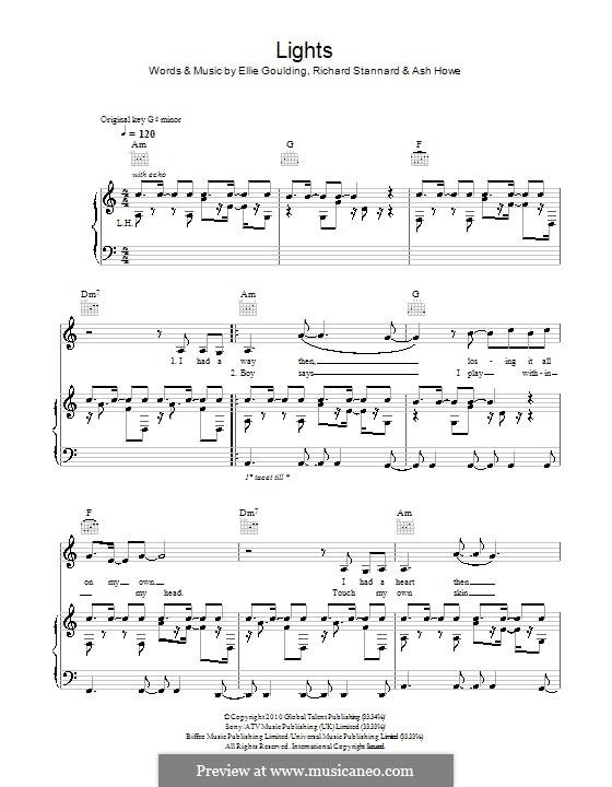 Lights: Para vocais e piano (ou Guitarra) by Ashley Howes, Ellie Goulding, Richard Stannard