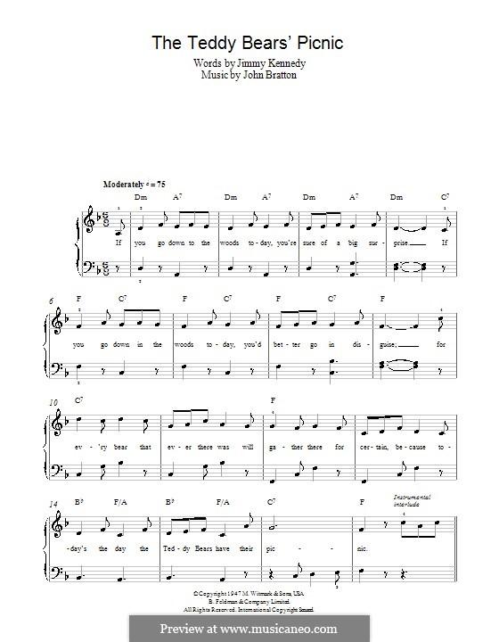 The Teddy Bears' Picnic: Facil para o piano by John Walter Bratton
