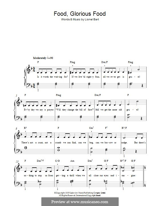 Food, Glorious Food (from Oliver!): Facil para o piano by Lionel Bart