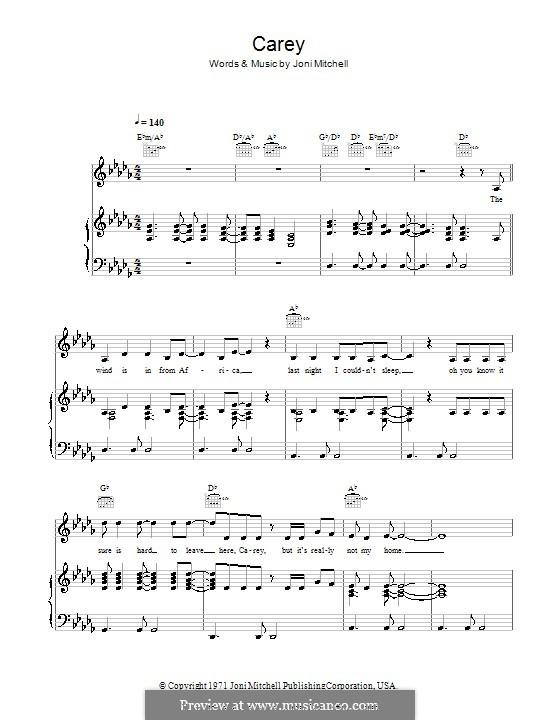 Carey: Para vocais e piano (ou Guitarra) by Joni Mitchell