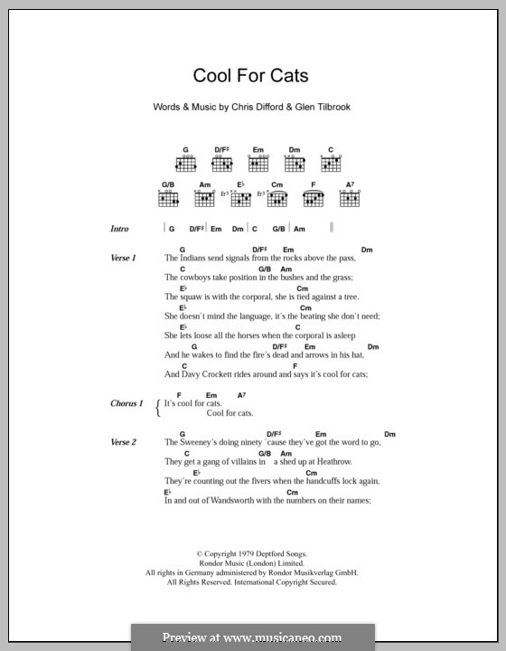Cool for Cats (Squeeze): Letras e Acordes by Christopher Difford, Glenn Tilbrook