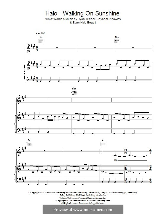 Halo / Walking on Sunshine (Glee Cast): Para vocais e piano (ou Guitarra) by Beyoncé, Evan Kidd Bogart, Kimberley Rew, Ryan B Tedder