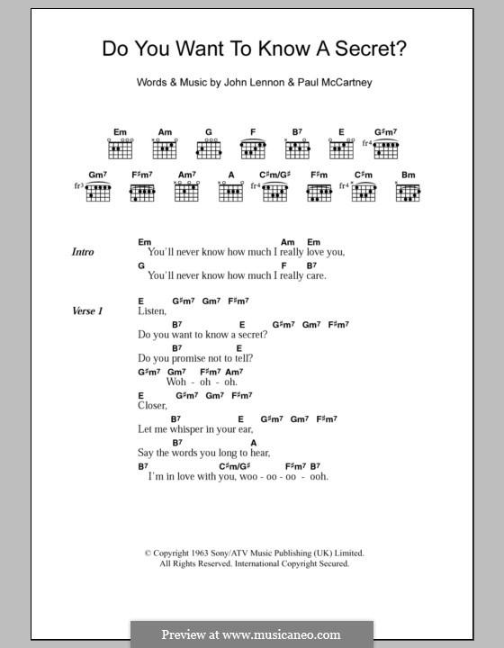 Do You Want to Know a Secret? (The Beatles): Letras e Acordes by John Lennon, Paul McCartney