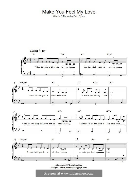 Make You Feel My Love: Facil para o piano by Bob Dylan