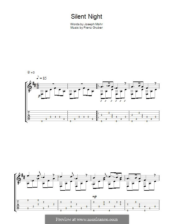 Silent Night (Printable): For guitar with tabulature by Franz Xaver Gruber